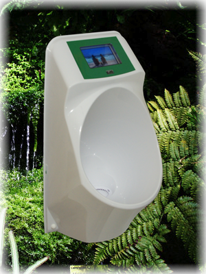 Waterless urinal with media player